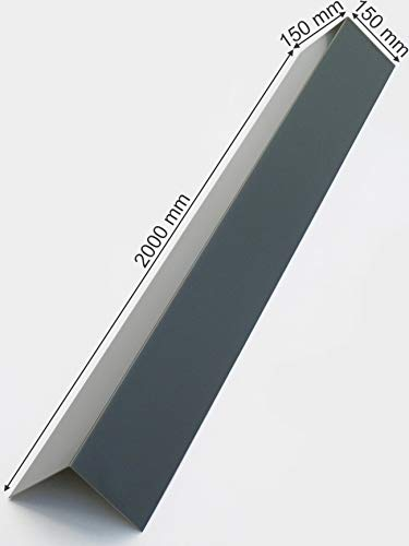 Aluminium Blechwinkel Alu Winkelblech Kante 2000mm lang Winkel 90° Eckwinkel Anthrazit Grau RAL 7016 (150mm x 150mm)