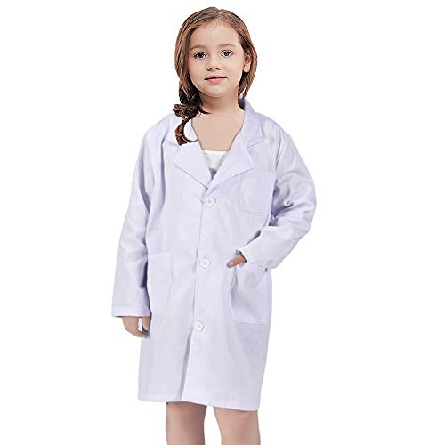 White Kid Lab Coat for Scientist Role Play Costume Set (Small, White)