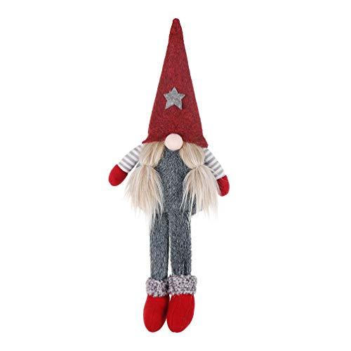 Amosfun Wichtel Figuren Weihnachtswichteln Plüsch Wichtel Weihnachten Plüschtier Weihnachtskobolden Winterwichtel Kinder Kuscheltier Geschenk - Rot Lange Beinen Gremlin