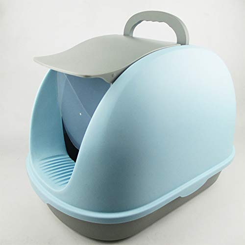 Lavabo de la litera del gato creativo,Caja de arena para gatos con tapaGran espacio Litter Pan Anti Splashing Deodoran,Baño de gato completamente cerrado,lightblue