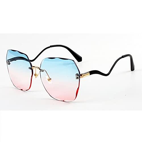 SXRAI Gafas de Sol sin Montura de Metal para Mujer, Gafas de Sol cuadradas de Gran tamaño para Hombre, Gafas de Medio Metal a la Moda Uv400,C4