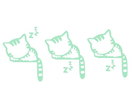 ETCBUYS Animales durmiendo Lindo Gatito Luminoso Interruptor de Luz Pegatina de Pared para Habitación Infantil Brillo en la Oscuridad, Papel Tapiz de Decoración para el Hogar – Luz Verde