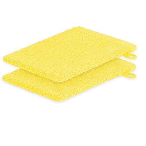 Lot de 2 gants de toilette ExKLUSIV HEIMTEXTIL 15 x 21 cm 500 g/m², jaune, 2x Waschhandschuh 15 x21 cm