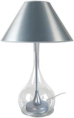 Tosel 63250 Treviso, Pied Acier, extérieur Verre soufflé Transparent, Abat-Jour Coton, E27, 40 W, Aluminium, 40 x 70 cm