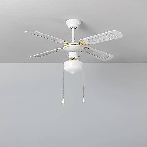 TECHBREY Ventilador de Techo Havoc Blanco, 103 cm de diámetro, Motor AC, Silencioso, 4 Aspas, 3 Velocidades, 60 W