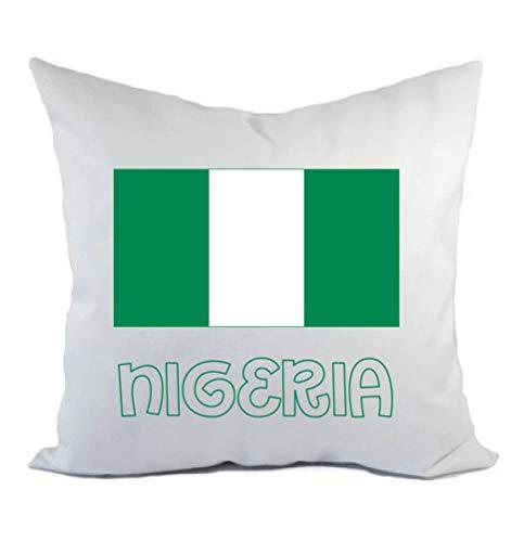 Typolitografie Ghisleri kussen wit Nigeria met vlag kussensloop en vulling 40 x 40 cm van polyester