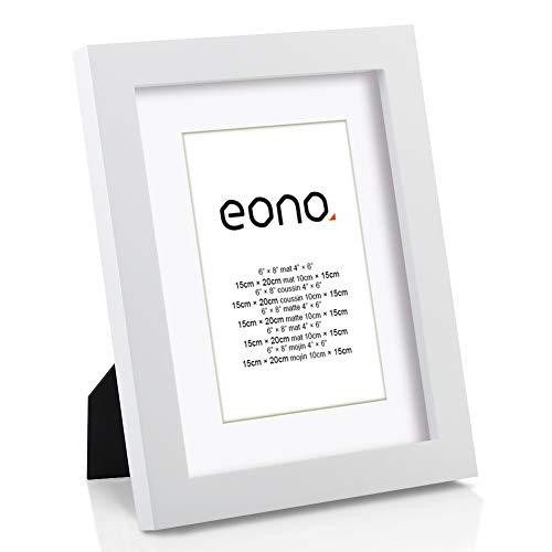 Eono by Amazon - Marco de Fotos de Madera Maciza y Cristal de Alta Definición para Pared Fotos de 10x15 cm con paspartú y de 15x20 cm sin paspartú Blanco