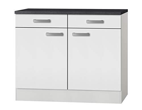 idealShopping GmbH Küchen Unterschrank mit Arbeitsplatte Oslo U106-9 in weiß 100 cm