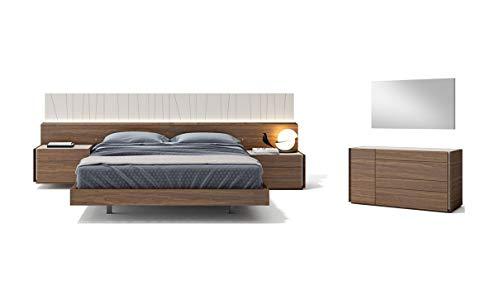 Great Features Of Porto Premium Queen Bedroom Set in Light Grey & Walnut, 5 Piece