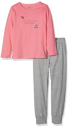 NAME IT Mädchen NMFNIGHTSET Mel 1 NOOS Zweiteiliger Schlafanzug, Mehrfarbig (Grey Melange Grey Melange), 104