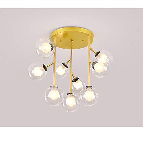 9-Light Europese Smeedijzeren Creative Kroonluchter Plafondlamp, Modern Hardware + Glas Minimalistische Slaapkamer Dining Room Plafondlamp American Ceiling Lamp Living Room Led Light,Gold