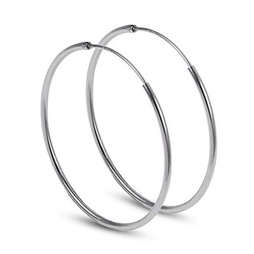 Yommie Paar Creolen aus Silber 925 Groß Ohrringe Kreis Rund Geschenk für Damen Mädchen-20/40/60MM