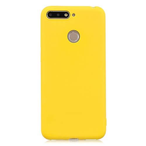 cuzz Funda para Huawei Honor 7A / Y6 2018 / Enjoy 8E+{Protector de Pantalla de Vidrio Templado} Carcasa Silicona Suave Gel Rasguño y Resistente Teléfono Móvil Cover-Amarillo