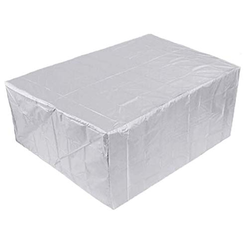 WCJML Silver Rattan Furniture Cover,Rectangular Waterproof Garden Furniture Cover for Outdoor Patio Courtyard Table Chair Combination Protective Cover (Customizable)