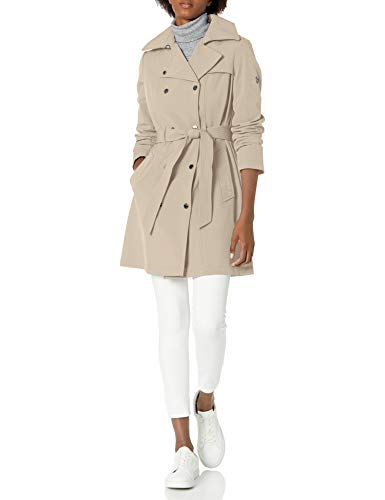 Calvin Klein Women's Double Breasted Belted Rain Jacket with Removable Hood, Oyster, Medium