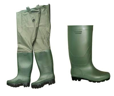 FGS Hip Waders Fishing Boots - Nylon and PVC Waterproof Boot for Men and Women - Green
