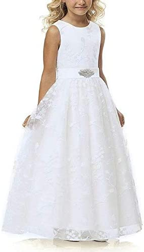 White Lace Flower Girl Dress for Wedding Vintage Floral Sleeveless Formal Gown with Belt product image