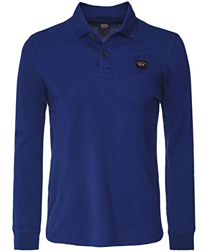 Paul and Shark Men's Long Sleeve Pique Cotton Polo Shirt Dark Blue XL