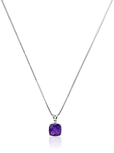 Sterling Silver Cushion-Cut Checkerboard Amethyst Pendant Necklace (6mm)