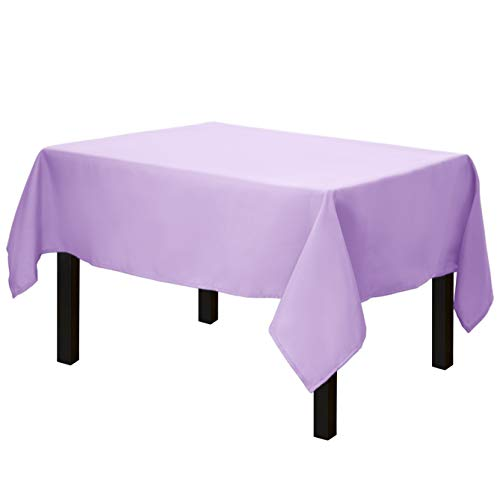 Gee Di Moda Square Tablecloth - 52 x 52 Inch - Lavender Square Table Cloth for Square or Round Tables in Washable Polyester - Great for Buffet Table, Parties, Holiday Dinner, Wedding & More
