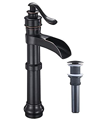 Homevacious Bathroom Faucet Oil Rubbed Bronze Waterfall Vessel Sink Tall Black Single Handle Bath Basin Farmhouse With Pop Up Drain Assembly Lavatory One Hole Mixer Tap Without Overflow Lead-Free