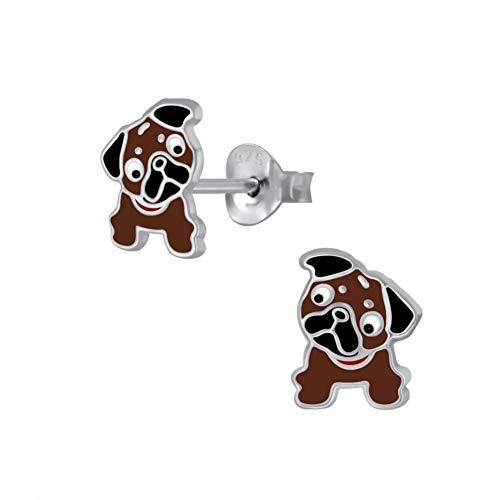 Laimons Mädchen Kids Kinder-Ohrstecker Ohrringe Kinderschmuck Hund Hündchen Mops Braun Weiß 8mm aus Sterling Silber 925