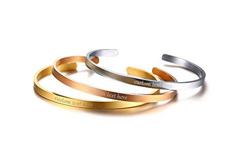 VNOX 3PCS Personnalisé en Acier Inoxydable Empilable Inspirational Bangle Bracelet Manchette Bracelet Amitié Bijoux pour Femmes, Gravure Gratuite