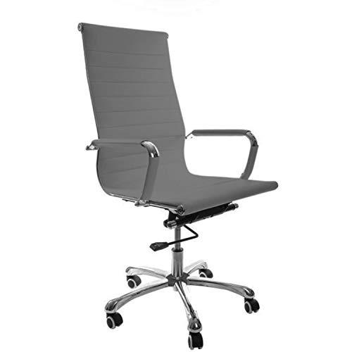 Sedia da scrivania Grigia Madrid di Vivol in pelle artificiale PU - Sedia per scrivania e sedia da ufficio ergonomica