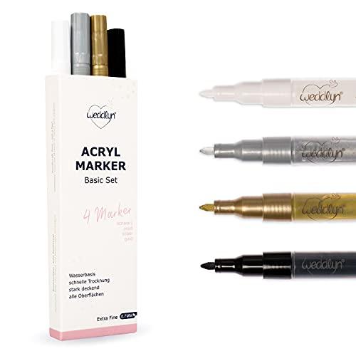 weddlyn® – Acrylstifte 0,7 mm– Starke Deckkraft – Metallic Marker – schnell trocknend –...