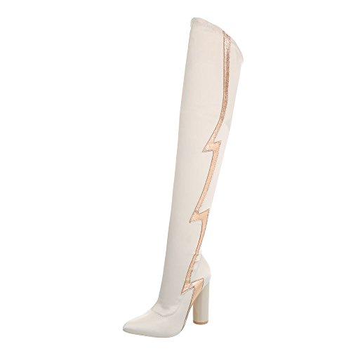 Ital Design Overknees Damen-Schuhe Overknees Pump High Heels Reißverschluss Stiefel Creme, Gr 37, Jr-010-