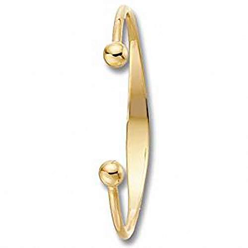 Baby Bangle Identity Torque Yellow Gold Hallmarked Bracelet Christening Gift