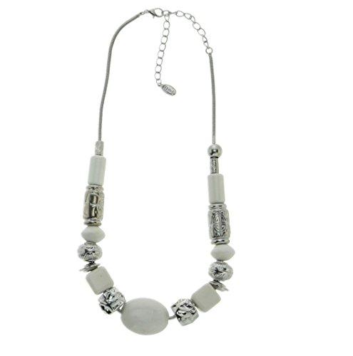 Brede halsketting wit – designer halsketting voor dames – mode-accessoires – sieraden.