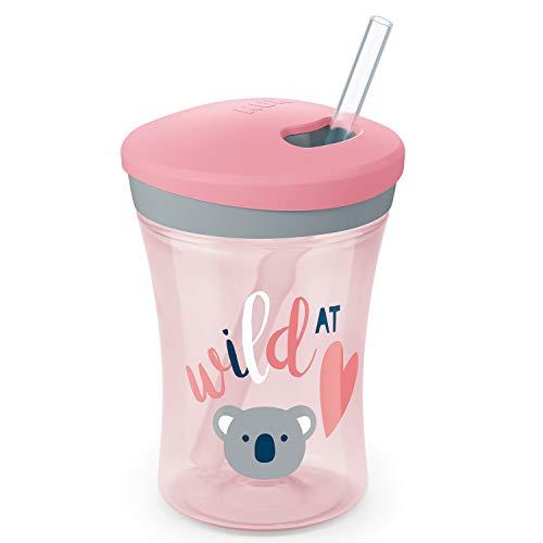 NUK Action Cup Trinklernflasche, weicher Trinkhalm, auslaufsicher, 12+ Monate, BPA-frei, 230ml, Koala (rosa)