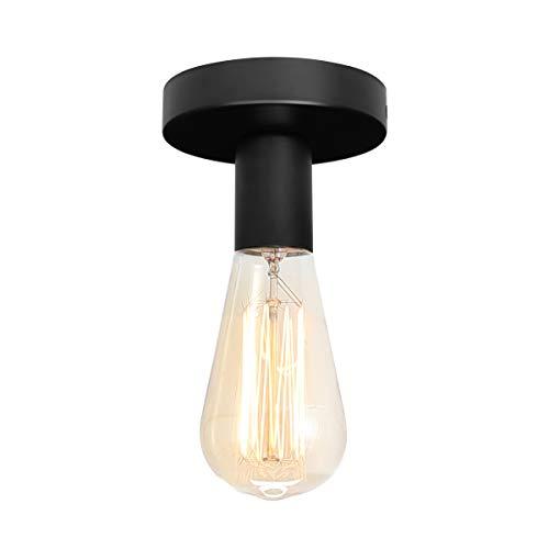 NEWSEE Deckenleuchte Retro Drahtleuchte Deckenlampe 1-flammig E27 Fassung max. 50 Watt Vintage Stahl Schwarz