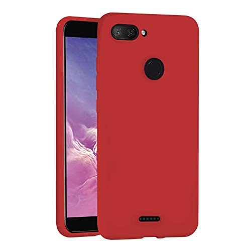 """TBOC Funda para Xiaomi Redmi 6 - Redmi 6A [5.45""""] - Carcasa Rígida [Roja] Silicona Líquida Premium [Tacto Suave] Forro Interior Microfibra [Protege la Cámara] Resistente Suciedad Arañazos"""