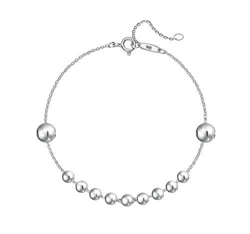 PAPOLY®Pulsera de Bolas PLATA DE LEY 925 ajustable, Comoda y Elegante Gamuza limpia plata. (BOLA-FINA)