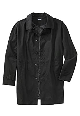KingSize Men's Big & Tall Water-Resistant Trench Coat - Tall - 4XL, Black from KingSize
