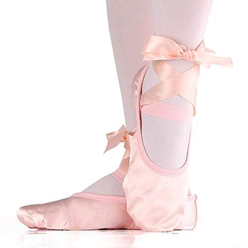 Niños y Adulto Danza Ballet de Niña Zapatos Satén Gimnasia Planos Doble Suela con Lazo - Nude, 24