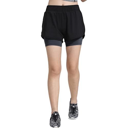 Pantalones cortos deportivos para mujer de moda con costuras elásticas falsas de dos piezas de baloncesto, 2, XXXXL