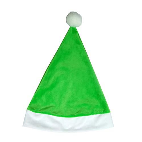Amosfun Natale Cappello da Babbo Natale Cappello di Peluche Cappello da Babbo Natale Cappello Cappello Costume Accessorio Verde