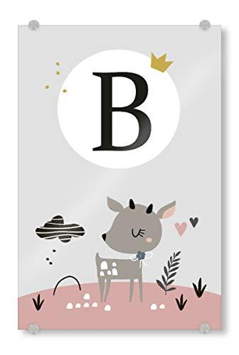 artboxONE Acrylglasbild 45x30 cm Typografie Buchstabe B mit REH in Rosa - Bild Kinder Waldtiere Tiere