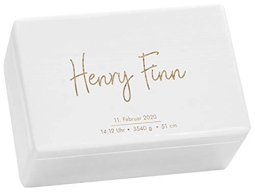 LAUBLUST Erinnerungsbox Baby Personalisiert - Geschenk zur Geburt | 30x20x14cm, Holzkiste Weiß FSC® | Serie: Niers