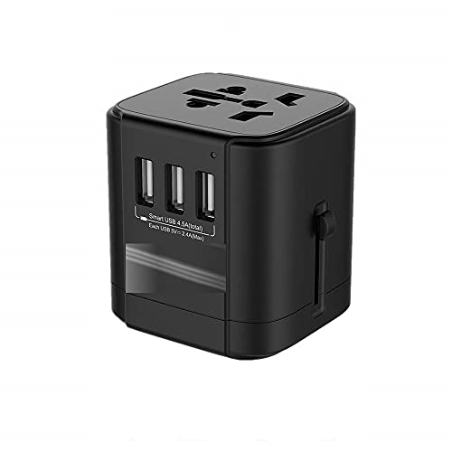 Convertidor de Enchufe Adaptador de Viaje Internacional Toma de Corriente con 4 USB Puertos de Carga y Fusible de Repuesto Enchufe Universal Toma eléctrica Universal (tamaño : 3U-Adapter)