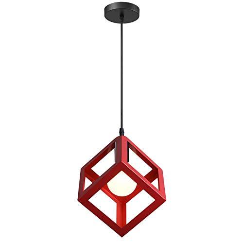 iDEGU - Lampadario a sospensione, moderno, a forma di cubo, stile geometrico, in metallo, E27, plafoniera per camera da letto, soggiorno, ristorante, 16 cm rosso