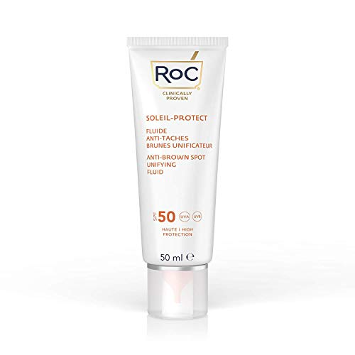 RoC - Soleil-Protect Anti-Brown Spot Unifying Fluid SPF 50 - Crema Idratante Viso con Vitamina C - Riduce le Macchie Marroni - 50 ml