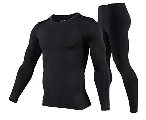 Mens Thermal Underwear Set - Cold Weather Thermal Long Johns & Winter Skiing Warm Top and Bottom Set (Black, XL.=US-L)