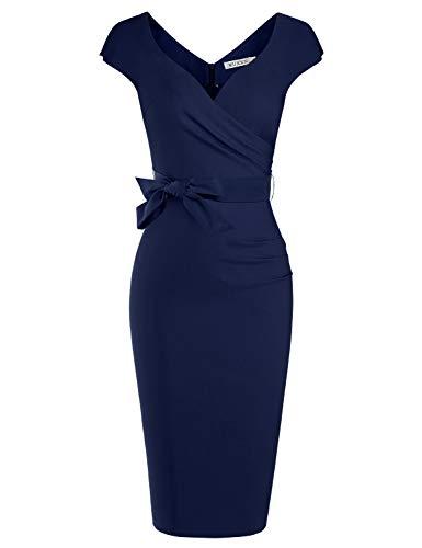 MUXXN Ladies Foraml Wedding Dark Blue Dresses Tie Bowknot Party Midi Dress (Blue L)