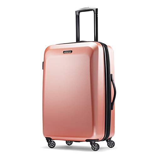 American Tourister Moonlight Hardside Expandable Luggage with Spinner Wheels, Rose Gold, Checked-Medium 24-Inch