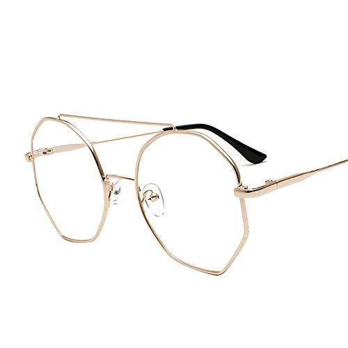 SenDi Occhiali da sole - Occhiali da vista a specchio tondo in metallo montatura letteraria ultra leggera, montatura dorata