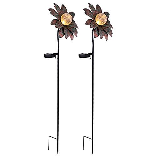 2x LED Solar Außen Steck Lampen Glas Strahler Kugel Garten Deko Blumen Leuchten